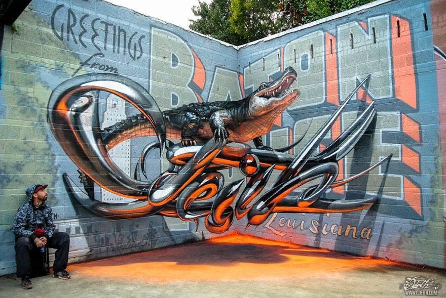 Street Artist Creates Stunning 3D Graffiti