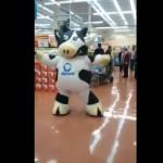 Dancing Mascot In Supermarket