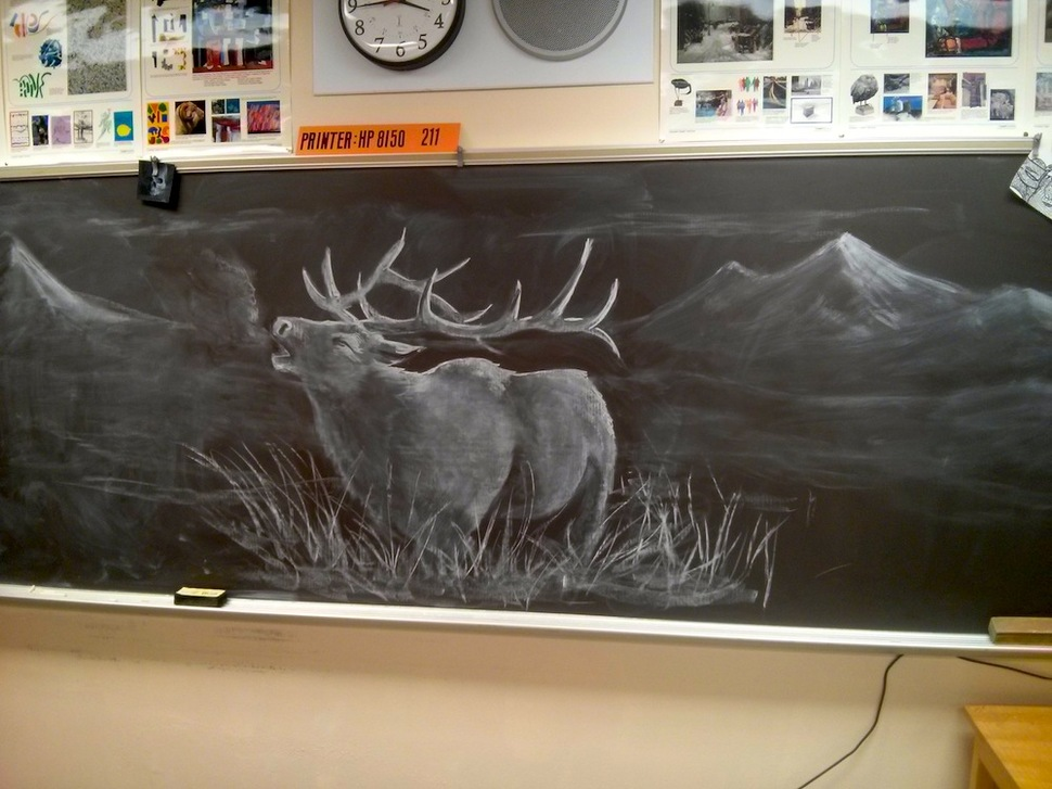gifted teacher creates a chalkboard masterpiece