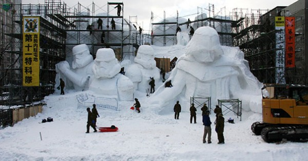 "Massive ""Star Wars"" Snow Sculpture"