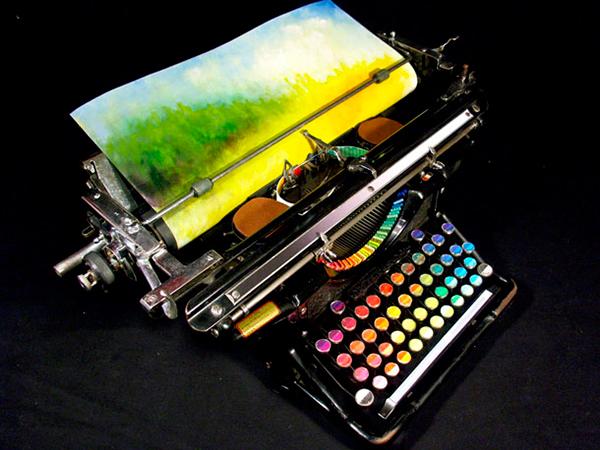 typewriter painting