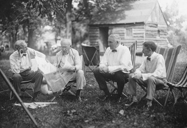Henry Ford, Thomas Edison, Warren G. Harding, and Harvey Firestone