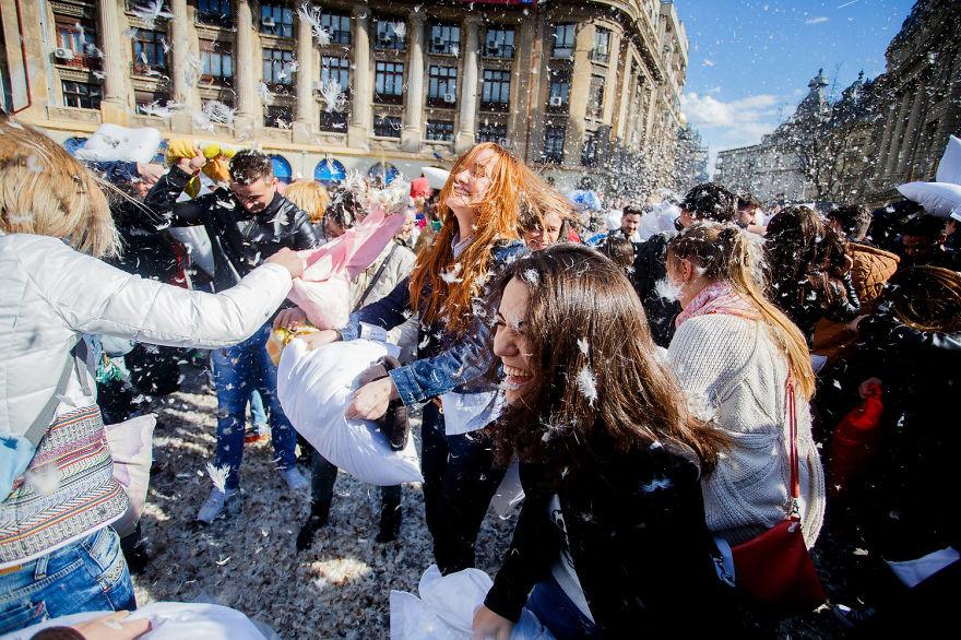 International Pillow Fight Day In Bucharest, Romania2