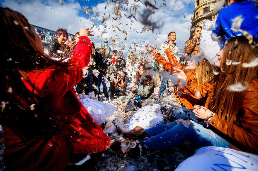 International Pillow Fight Day In Bucharest, Romania4