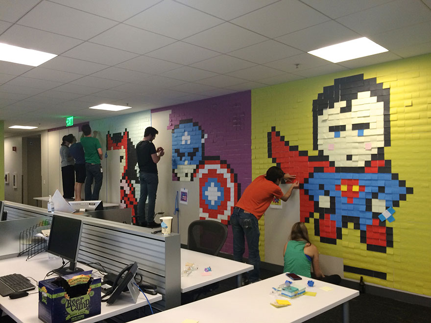 Worker Uses 8,024 Post-It Notes To Turn Office Walls Into Superhero Murals2