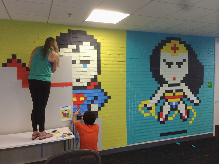 Worker Uses 8,024 Post-It Notes To Turn Office Walls Into Superhero Murals4