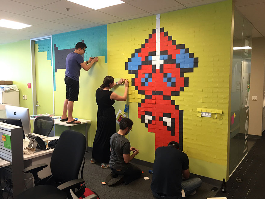 Worker Uses 8,024 Post-It Notes To Turn Office Walls Into Superhero Murals5