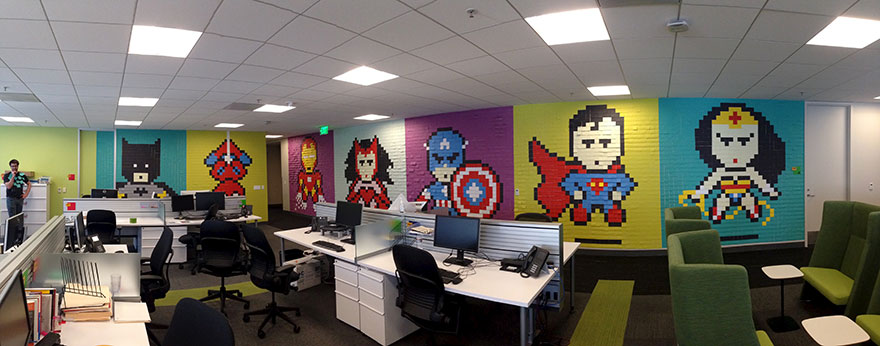 Worker Uses 8,024 Post-It Notes To Turn Office Walls Into Superhero Murals7