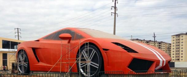 Russian football team builds giant Lamborghini outside stadium