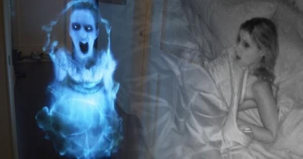 Scary Prank – Boyfriend Uses Hologram Ghost To Wake Up Girlfriend