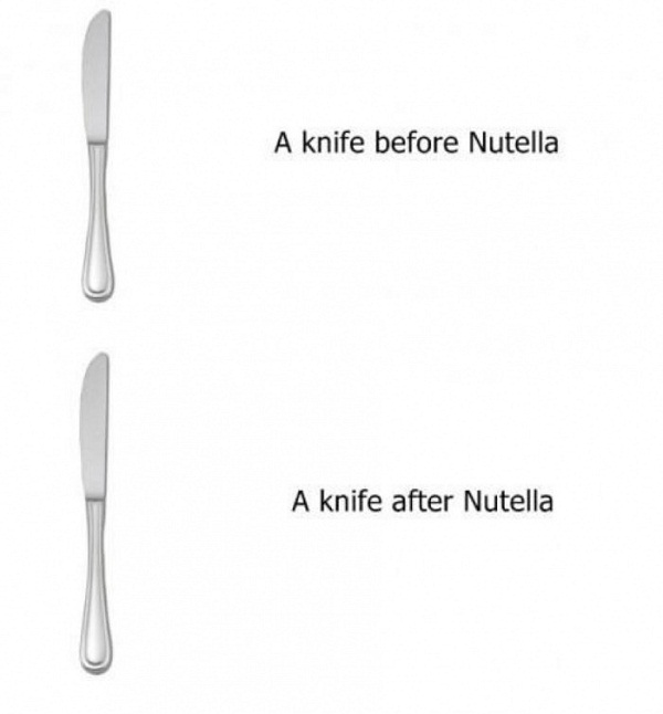 Knife Before And After Nutella