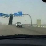 Tipper Lorry Driver Smashing Through Overhead Motorway Sign