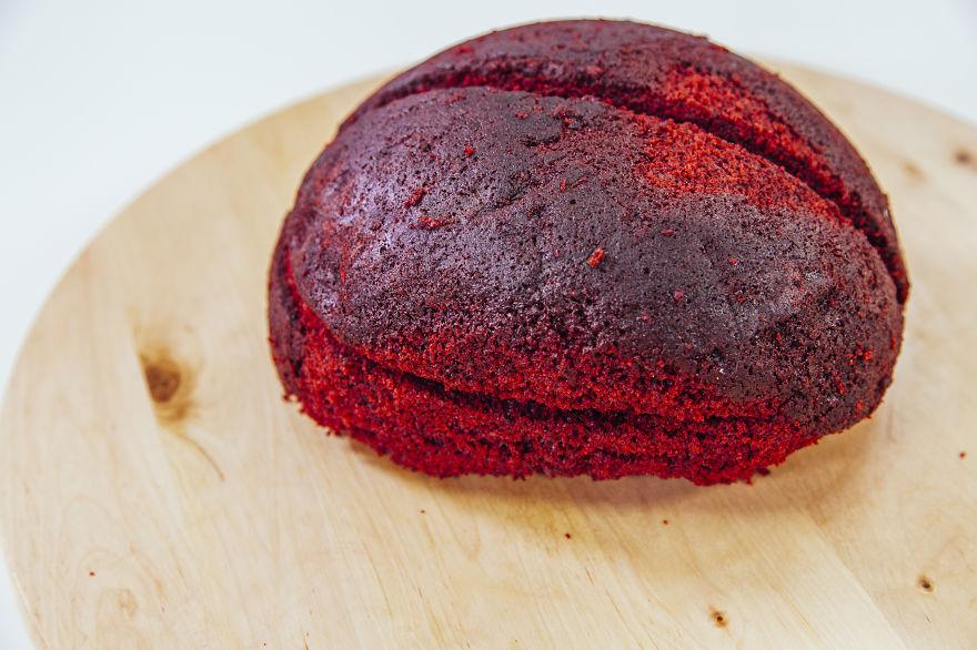 How To Make A Red Velvet Brain Cake For Halloween