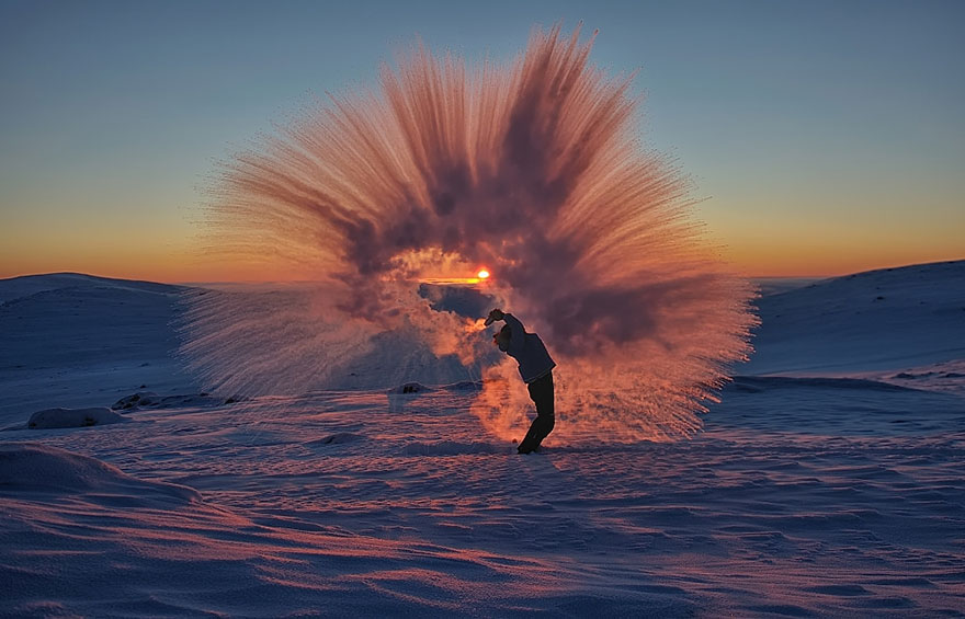 Pouring Hot Tea At -40C Near The Arctic Circle During Sunset2